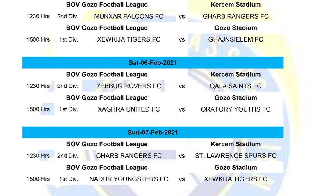 Fixtures published for the first week of February